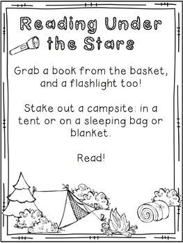 Family Literacy Night Materials: Camping Themed Literacy Night