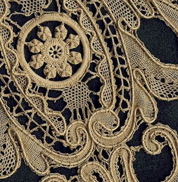French Mirecourt Bobbin Lace with Inserts  A large, dark ecru Victorian bobbin-lace collar with a bold design and nice attention to detail. Heavy cordonnets are set just within the cloth-stitch design parts. Zigzagging braids fill the long scrolls.
