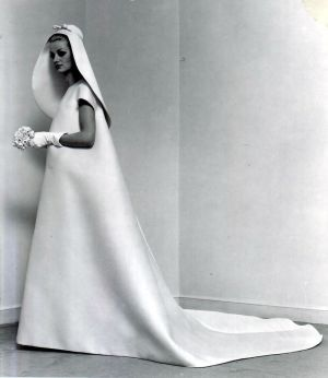 Single-seam wedding gown by Cristóbal Balenciaga, 1967