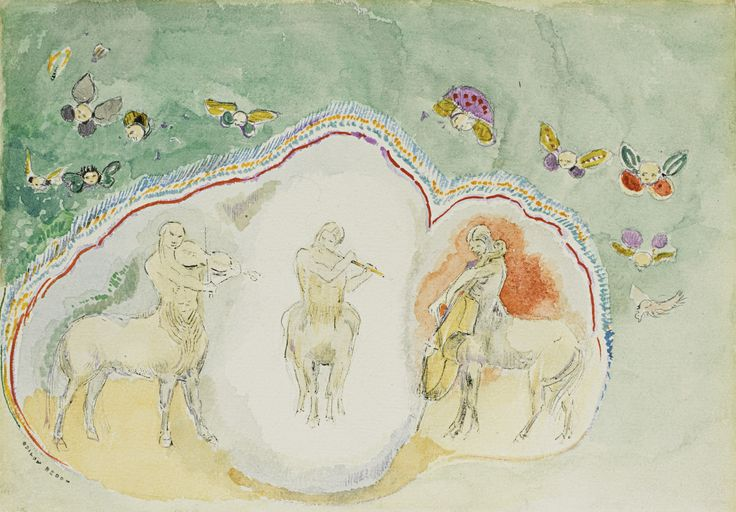 Odilon Redon, Les centaures musiciens, aquarelle, stylo et encre sur papier