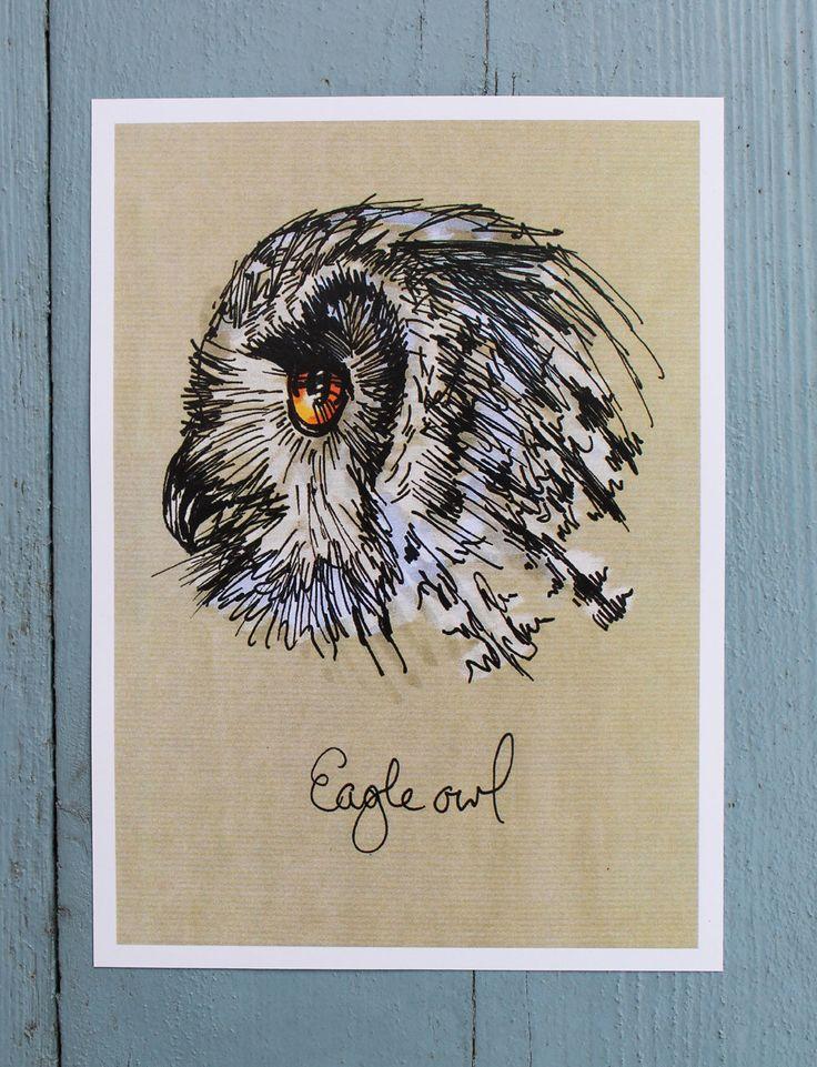 Owl print, Autumn art, eagle owl illustration, kraft paper, mini print, limited edition by illustratorlaura on Etsy https://www.etsy.com/listing/113600457/owl-print-autumn-art-eagle-owl