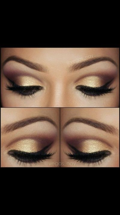 gold and black for dark eyes- wedding make up