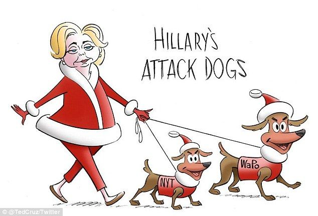 Ted Cruz fires back at Washington Post's 'monkey' cartoon with artwork of Hillary Clinton walking her 'lapdogs' – the Post and The New York Times