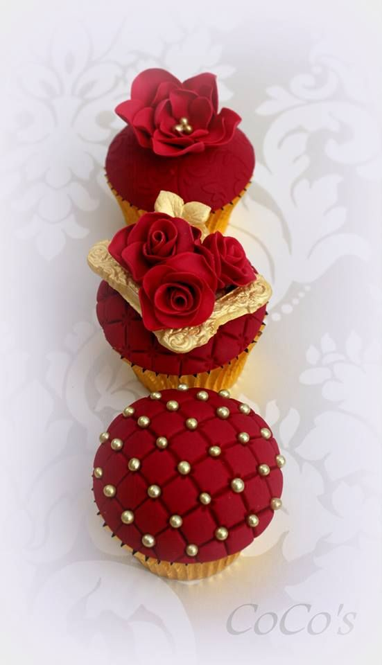 Ruby & Gold detailed Cupcakes, decorated using Patchwork Cutters Quilting embosser from PartyAnimalOnline www.partyanimalonlineshop.com decorated by Lynette CoCo Brandl at CoCo's Cupcakes see more of Lynettes designs here. https://www.facebook.com/cocoscupcakes
