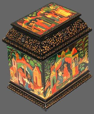 Russian folk art lacquer box