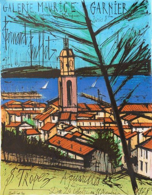 Bernard Buffet - Saint Tropez - L'Église et la Baie