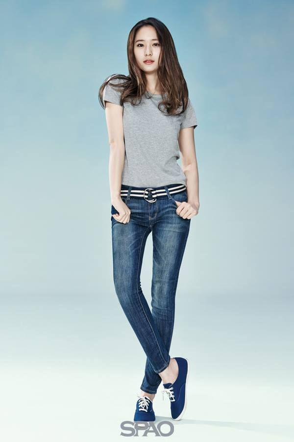 Gray Plain Tee in Spao Fashion of Krystal Jung