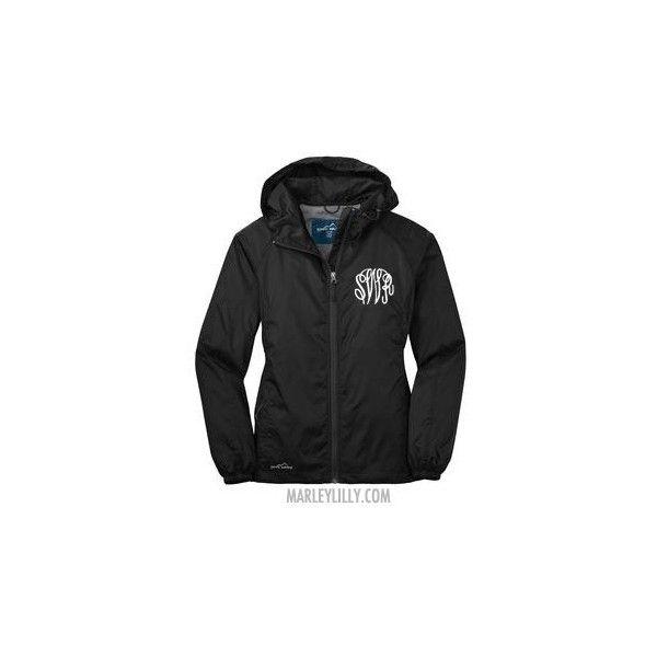 Monogrammed Black Eddie Bauer Windbreaker Jacket ($45) ❤ liked on Polyvore featuring outerwear, jackets, marley lilly, monogram, eddie bauer, eddie bauer jacket, wind jacket, monogram jackets and windbreaker jacket