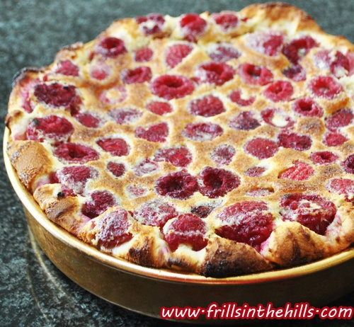 Easiest Raspberry baked custard pudding EVER.