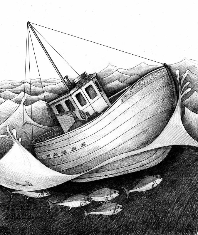 By Vicky Pratt. Pen and Ink. Fishing for tuna. Find me on Facebook and Instagram. www.vickyprattillustrations.com