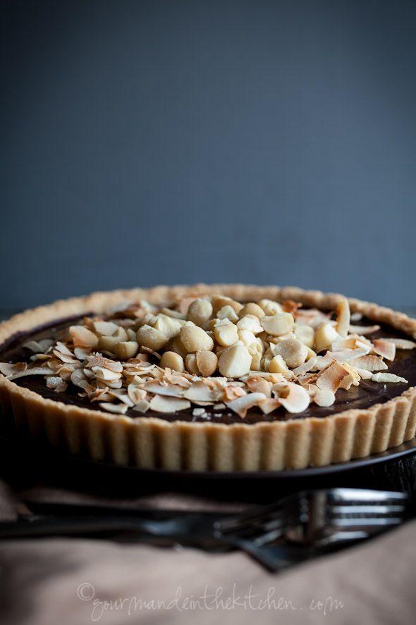 Chocolate, coconut, macadamia nut tart (gluten-free, vegan)
