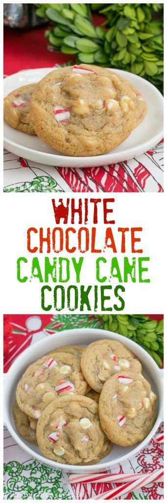 White Chocolate Candy Cane Cookies   A chewy, buttery cookie filled with white chocolate chips and crushed candy canes #christmascookies #peppermint #candycane