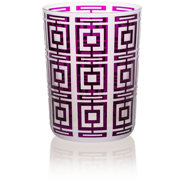 TUMBLER LARGE |  Handmade Glass Blown Large Tumbler, Deco Quadro-Violet 1924, height: 110 mm | top diameter: 83 mm | volume: 380 ml | Bohemian Crystal | Crystal Glass | Luxurious Glass | Hand Engraved | Original Gift for Everyone | clarescoglass.com