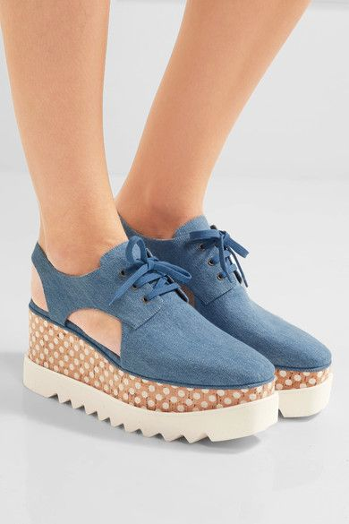 Wood and off-white rubber heel measures approximately 60mm/ 2.5 inches with a 30mm/ 1 inch platform Denim  Lace-up front Made in Italy