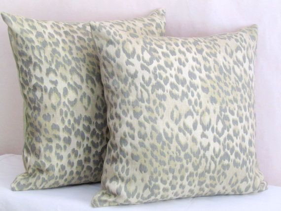 Linen leopard throw pillow shams  20x20 pillow cover  by SABDECO
