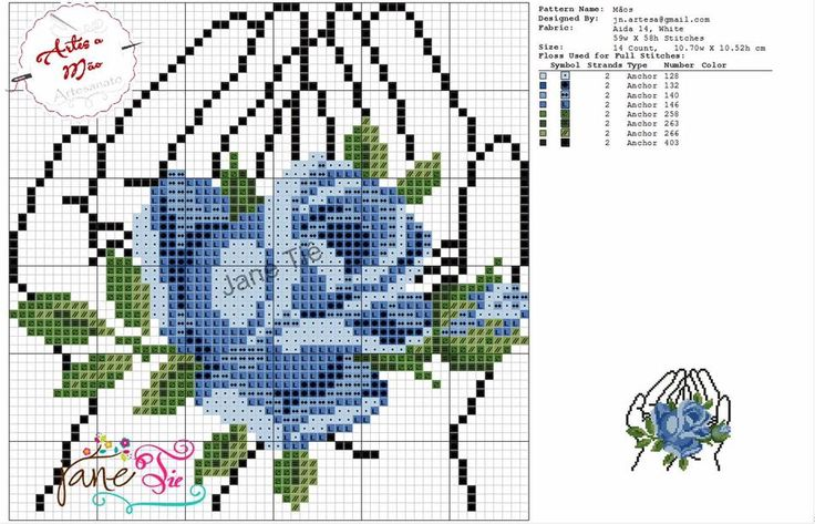 Hands holding flowers x-stitch