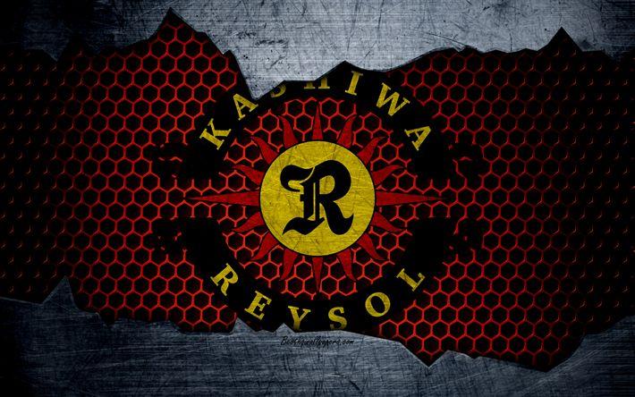 Download wallpapers Kashiwa Reysol, 4k, logo, art, J-League, soccer, football club, FC Kashiwa Reysol, metal texture