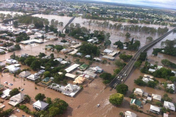 28 Jan 2013 Aerial photo of flooding in Bundaberg, Queensland Australia