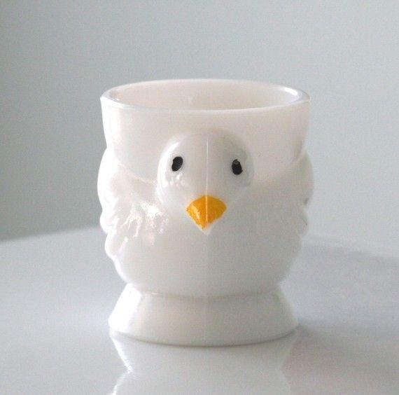 Milk Glass Opalex Chick Egg Cup
