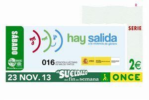 La ONCE dedica el cupón del 23 de noviembre a la campaña contra la violencia de género - Red Social para Mujeres http://www.guiasdemujer.es/st/ONCE/La-ONCE-dedica-el-cupon-del-23-de-noviembre-a-la-campana-contra-la-vio-1872#.UotXNtIyIjU