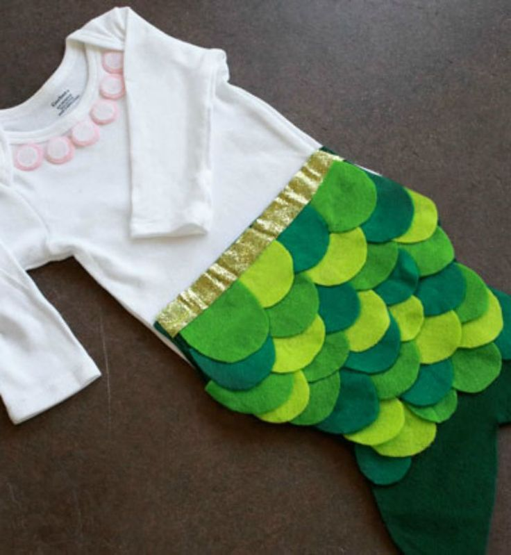 Your infant will be the most adorable trick-or-treater this Halloween! This no-sew baby mermaid costume is so easy to make—break out your felt stash!