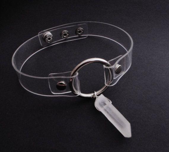 clear quartz crystal choker clear collar o ring от OfStarsAndWine