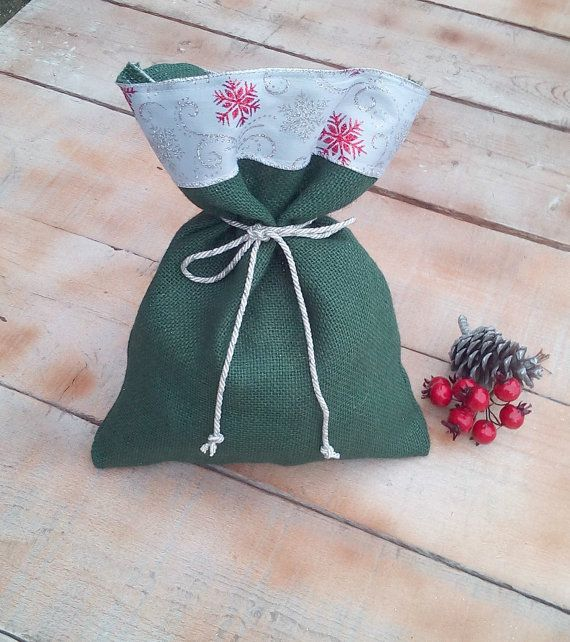 Christmas Burlap Bags  Green Christmas Burlap by AJRUSTICCREATIONS