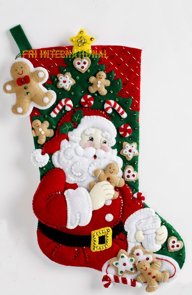 "Bucilla Snack Time ~ 18"" Felt Christmas Stocking Kit #86655, Santa Cookies Candy in Crafts, Needlecrafts & Yarn, Embroidery & Cross Stitch 