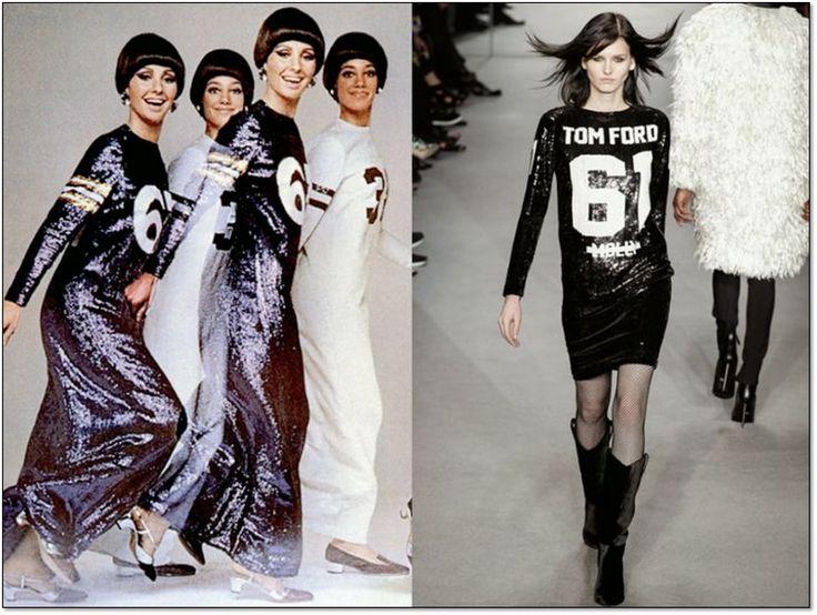 Слева: Платья от Джеффри Бина (Geoffrey Beene). 1967 г. Справа: Платье от Тома Форда (Tom Ford).  Осень-зима 2014/15 гг. #GeoffreyBeene #TomFord #fashion #fashioninspiration #style #60s #1960s #SperanzaFirsace