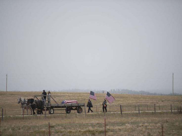 """The photo of this military funeral near Chadron, Nebraska, on the May, 2017 cover of an American Legion Veterans magazine illustrates the cover story, """"The Missing Marines of Tarawa Return Home"""" have two Nebraska connections. The funerwal was that of Fae Moore, who died in 1943 at the Battle of Tarawa in the Pacific, and whose remains were identified by DNA. The phot illustrates the cover story, """"The Missing Marines of Tarawa Return Home."""" Read more  of the article . . ."""