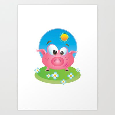 Piggy Wiggy Art Print by MargoLand - $16.00