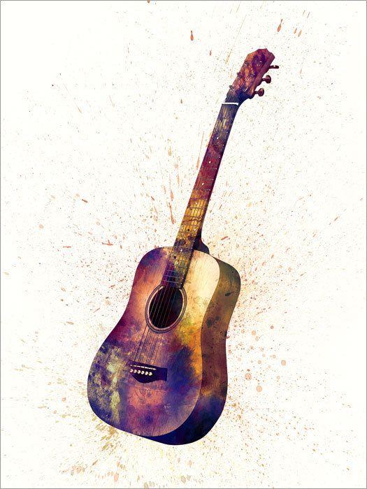Guitare acoustique musique aquarelle abstraite par artPause sur Etsy
