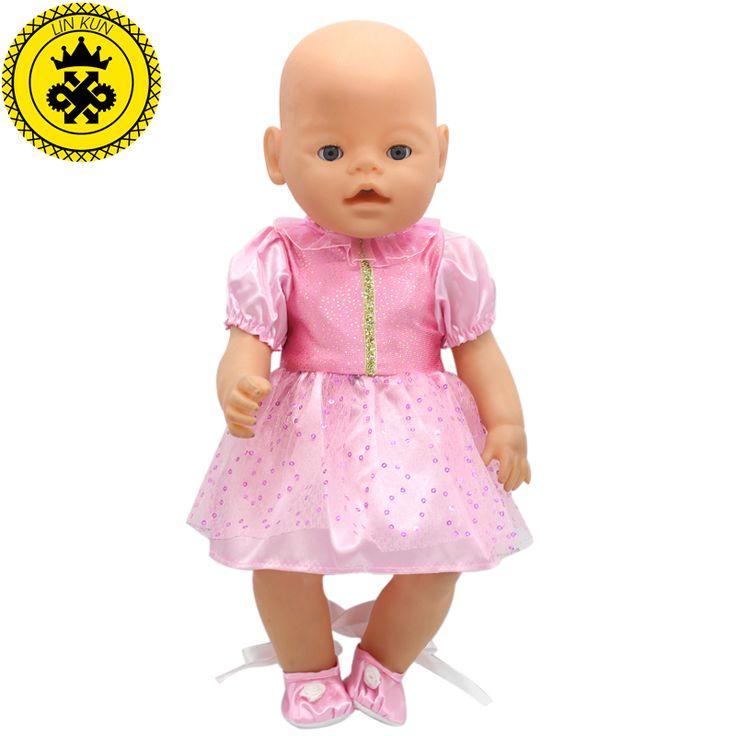 Купить товарFit 43 см Zapf Ребенок Родился Кукла Одежда Розовый Блесток Платье Рождественский Подарок Куклы Принцесса Кукла Аксессуары Мода 204 в категории Аксессуары для куколна AliExpress.