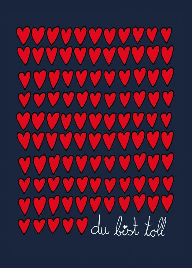 """Weiteres - Postkarte """"Du bist toll"""" - ein Designerstück von AnneAugenblick bei DaWanda"""
