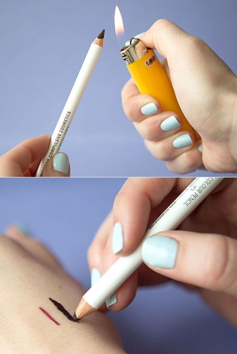 Turn a pencil eyeliner into a gel formula with the help of a match or lighter.  Hold your black, green, burgundy, etc., kohl eye pencil (which typically creates a thin, harder-to-apply line), under the flame for one second, let it cool for 15 seconds, and then watch the consistency change right before your eyes. Finally, glide on your newly made gel liner for an instantly smudgier formula.