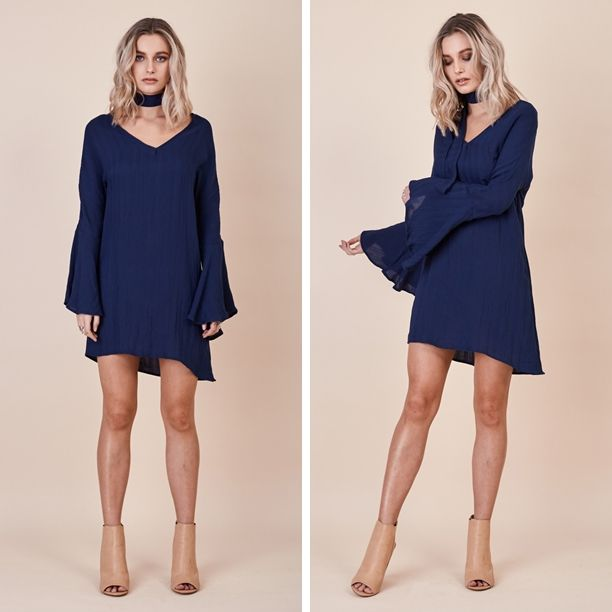 Navy Sienna Bell Sleeve Dress - Bohemian chic bell dress with neck tie. #ootd #ootdmagazine #style #fashion #fun #love #stylish