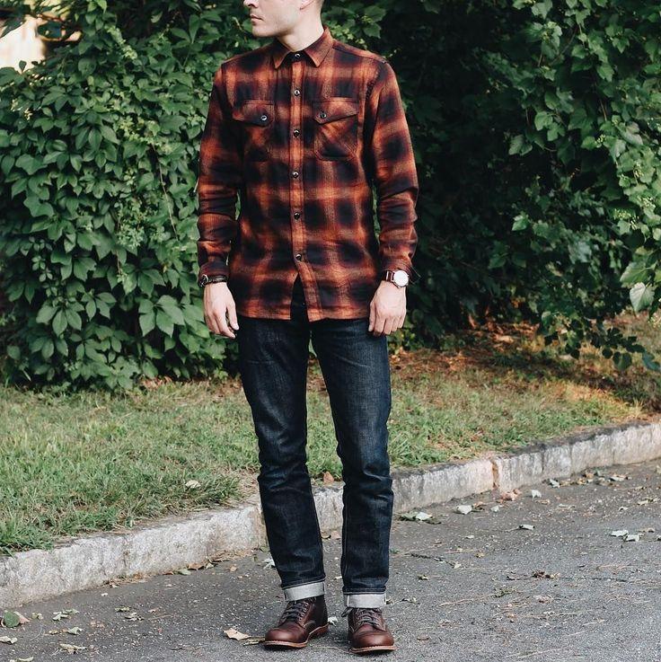Flannel, Denim, Boots, Rugged, Watch - Mens Wear #MensFashionDenim