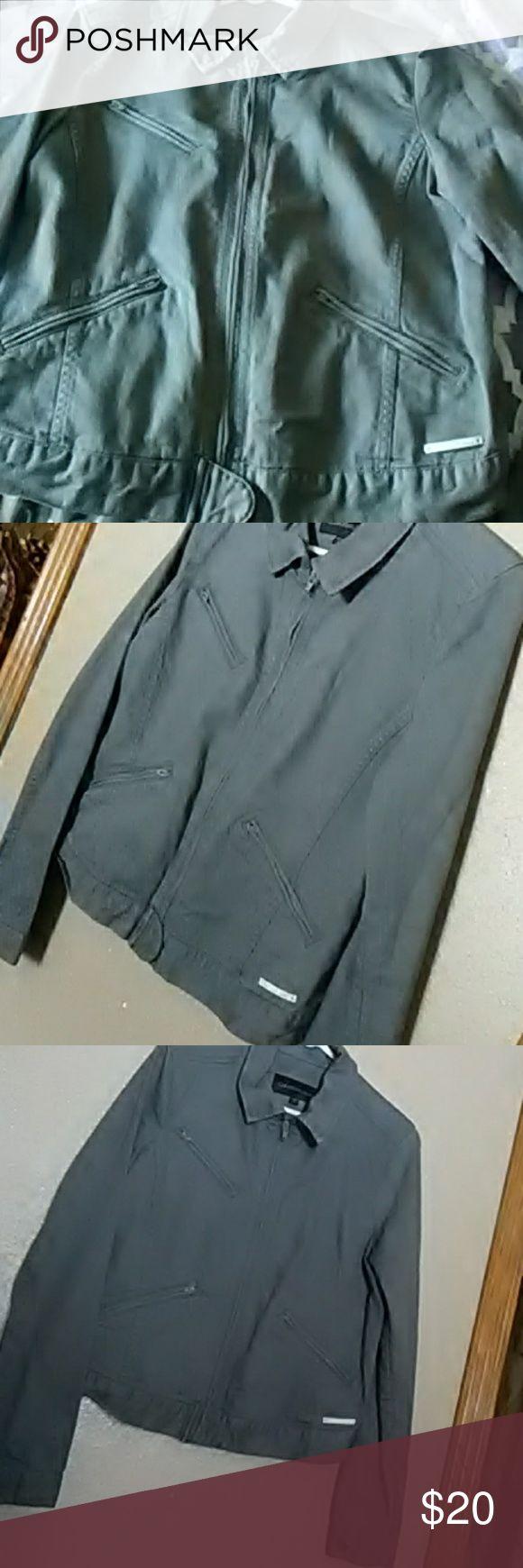 Calvin klein jean jacket Gray  Calvin Klein  Jean jacket Moto style Size medium Must have in ur closet Trade value $30 Calvin Klein Jackets & Coats Jean Jackets