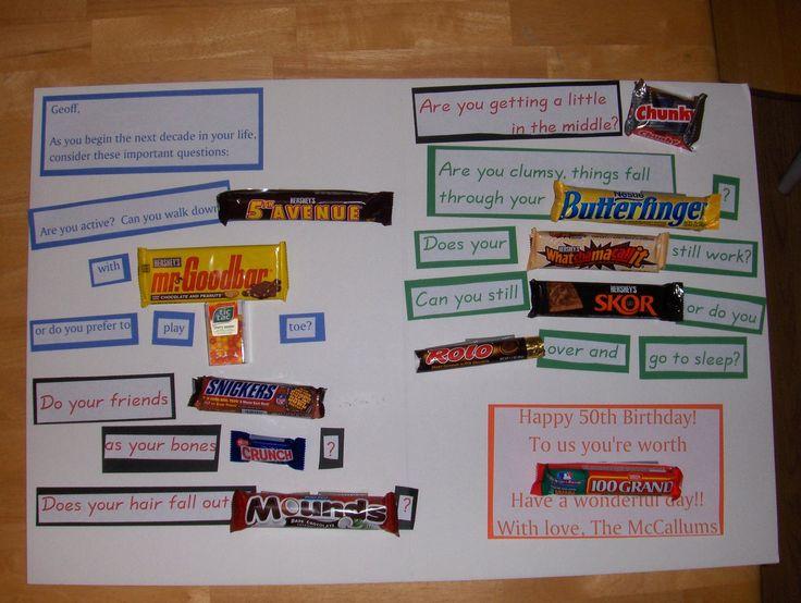 Candy bar 50th birthday card gift ideas pinterest