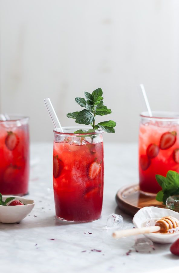 Strawberry Mint & Hibiscus Iced Tea - The Kitchen McCabe
