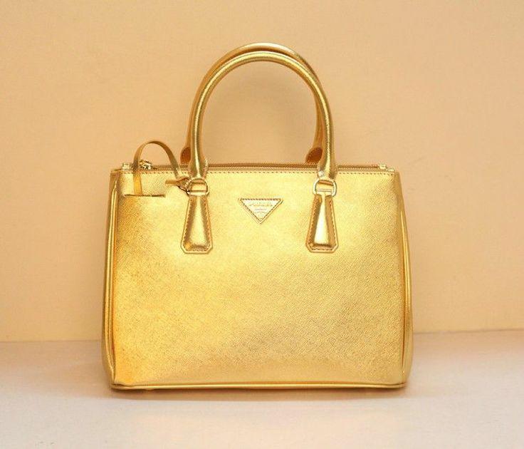 Prada Saffiano Leather Handbag Bn2274 Gold Replica Bag Designer Fake