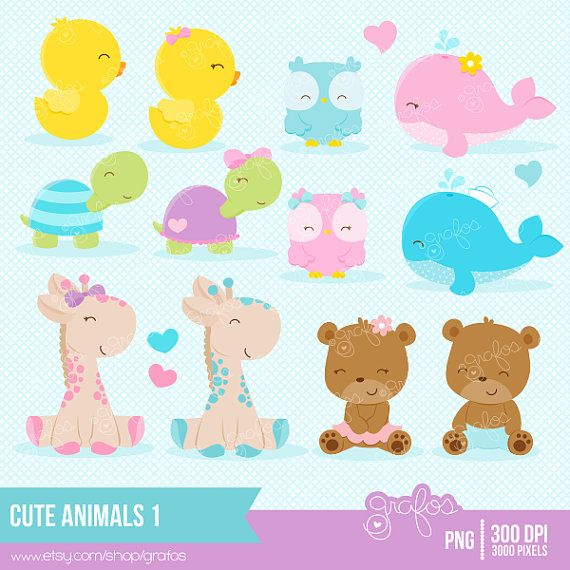 CUTE ANIMALS 1 Clipart, Baby Animals Clipart, Animals Clipart / Instant Downloa