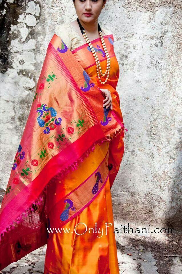 Beautiful Striking Purple Peacock Paithani And Long Mala