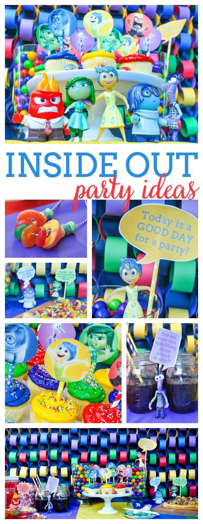 Fun and colorful Inside Out Party! Ideas! Celebrate your feelings and your Disney Side with this birthday party! | The Love Nerds  #disneysmmc #disneyside