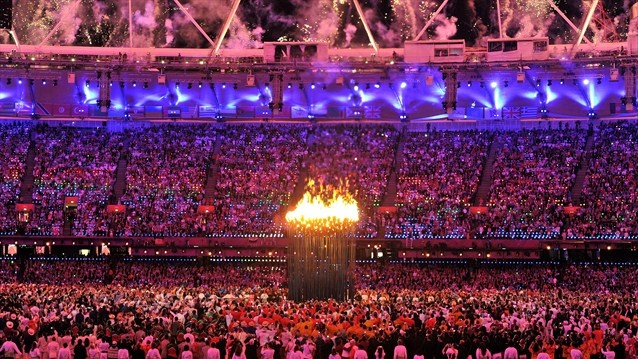 Athletes from all corners of the world witness the lighting of the Olympic Cauldron at the London 2012 Olympic Games Opening Ceremony.