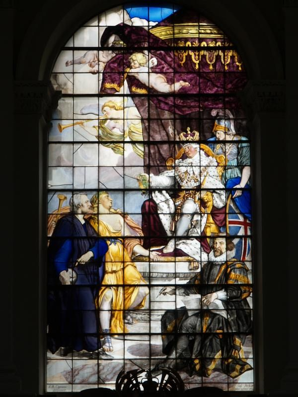 Cambridge, England: Trinity College: Wren Library stained and enamelled glass window (Isaac Newton being presented to George III with Francis Bacon looking on 1771, designed by Giovanni Battista Cipriani made by Peckitt of York, England