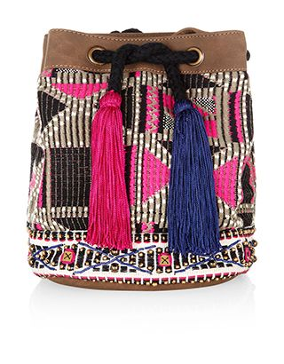 Category: Bags > Beach Bags > Across Body Bags Finish off your festival look with this tribal-inspired duffle bag, fashioned with neon accents, gold-coloured beads and two oversized tassel details. Featuring a drawstring closure, the main compartment is lined with bright, contrast lining, and features a slip pocket for your smartphone. Leather-look trims and an adjustable shoulder strap add an extra touch of style. Colour: Multi