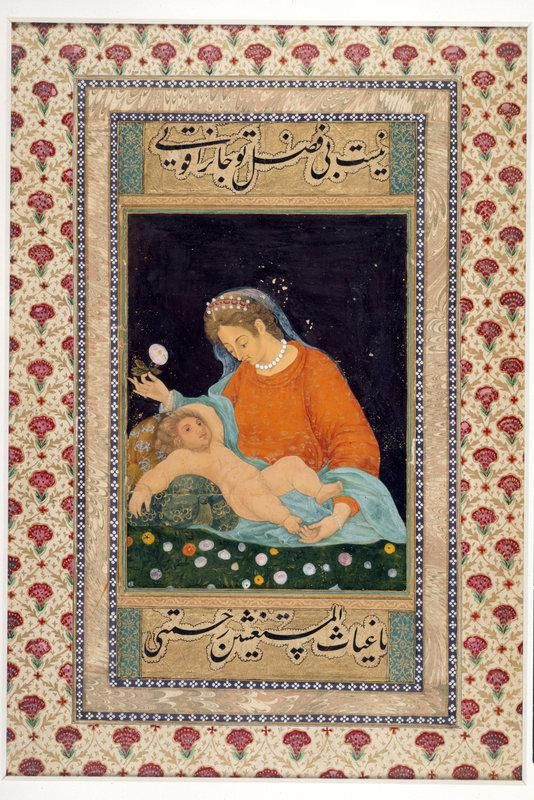 Mughal depiction c 1630 of Virgin Mary and Jesus (J.14,2). British Library:
