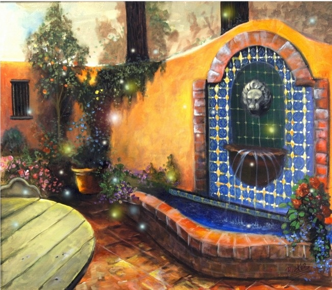 Tuscan Courtyards | Tuscan courtyard with fireflies Art Prints by Mary Rucker - Shop ...