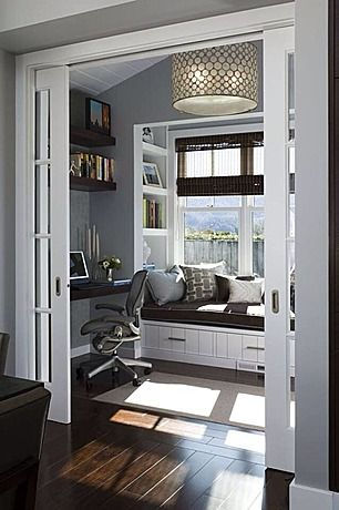 Great Contemporary Home Office. love that outsized light fixture and the way it fills the space.
